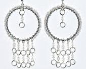Wire Wrapped Long Dangling Hoop Earrings Silver