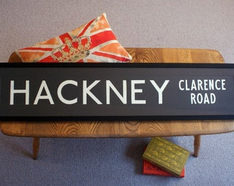 Vintage London Bus Blind - HACKNEY (CLARENCE ROAD)