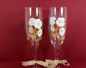 Champagne Glasses Wedding Toasting Flutes Hand Painted White Gold Flowers Set of 2