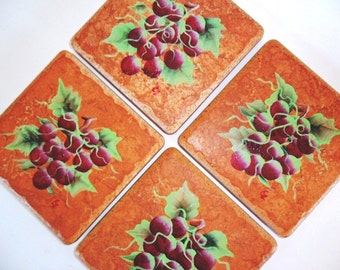 Coasters Red Grapes Hand Painted - Set of 4