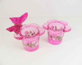 Pink Votive Tea light Holders Rose Buds Hand Painted Set of 2