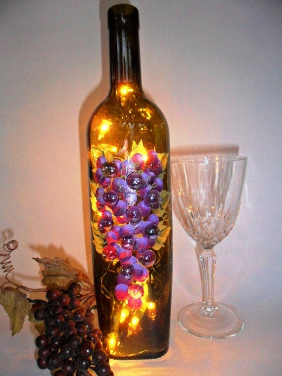 Lighted wine bottle grapes glass accents hand painted 750ml for Glass bottles with lights in them