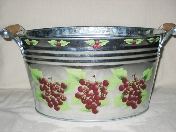 Ice Bucket Metal Hand Painted Grapes