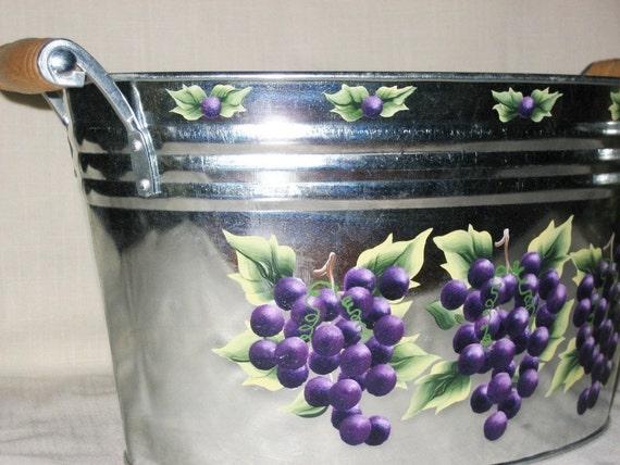 Ice Bucket Tub Purple Grapes Hand Painted Galvanized Metal