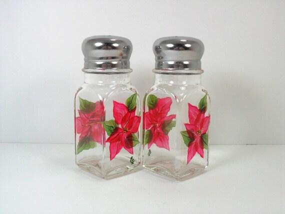 Salt Pepper Shaker Red Poinsettia Hand Painted