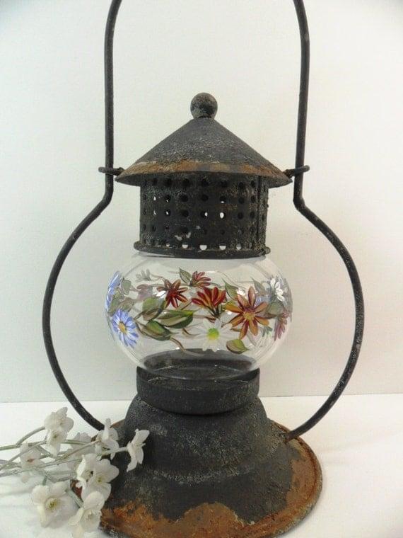 Lantern Glass Tin Antique Black Rust Shabby Chic Hand Painted Flower Garden