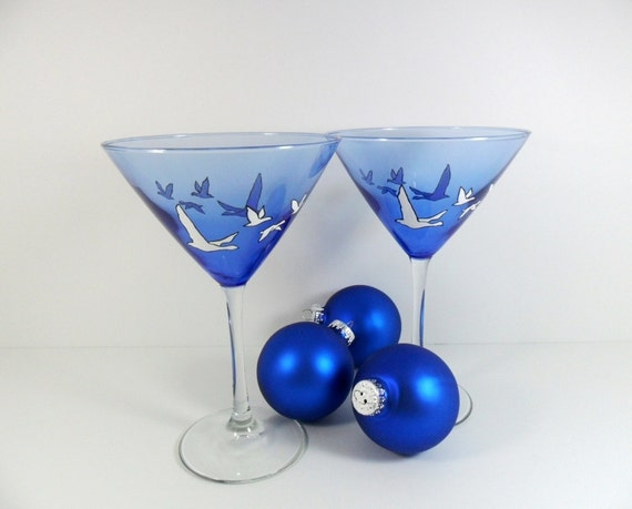 Martini Glasses Cobalt Blue White Geese Set of 2