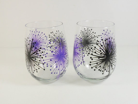Stemless Wine Glasses Fireworks Hand Painted Black Purple Set
