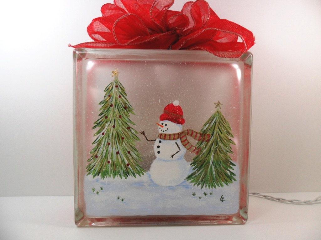 Lighted Glass Block Snowman Snow Scene 8x8x3 Hand Painted