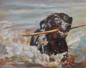 Black Labrador retriever painting reproduction -  dog portrait print -  artist Carol DeMumbrum