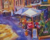 Sale,Italian Cafe Painting, Italy, Europe, cafe, 8x8 Original oil by Carol DeMumbrum