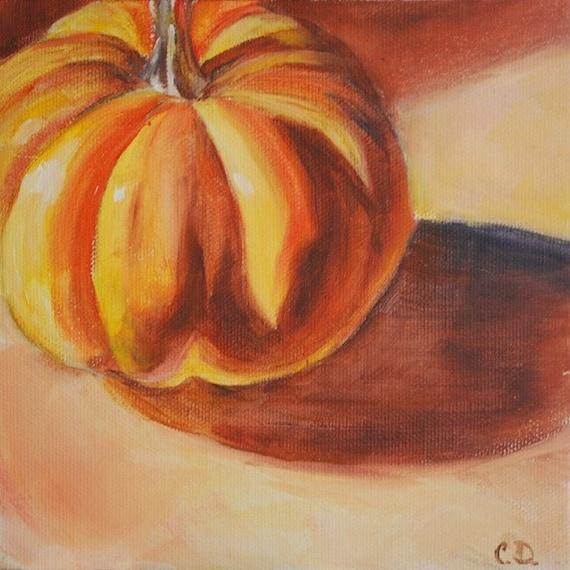 Pumpkin, Fall Painting - Original oil by Carol DeMumbrum - SALE