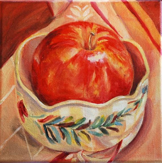 "Fruit, Apple Painting - Still Life - 8""x 8"" original oil by Carol DeMumbrum-Sale"