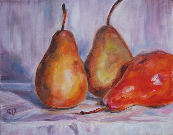 Pear Painting, Fruit Still Life - original 8 x 10 oil by Carol DeMumbrum