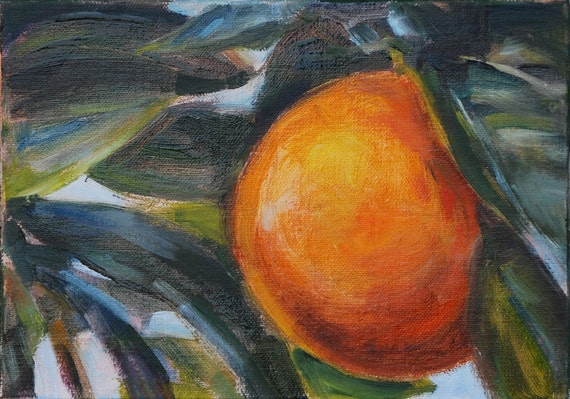 Sale, Orange, Fruit Painting, Still Life, Original oil by Carol DeMumbrum
