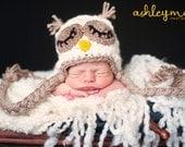 Crochet Pattern - Newborn Owl Hat