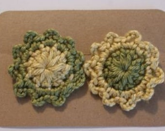 Little Flower Alligator Clips - in olive green and mustard yellow