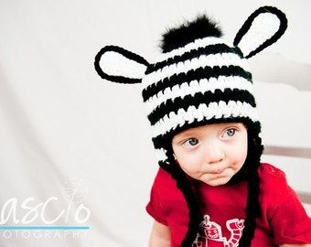 PDF Zany Zebra Hat CROCHET PATTERN in 5 different sizes for newborns to adult