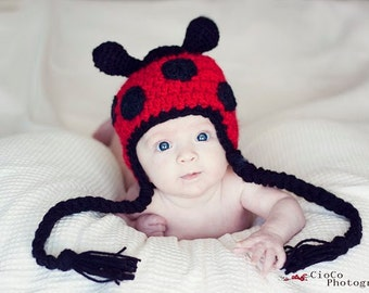 Crochet Pattern, Lady Bug Hat - Instant Download