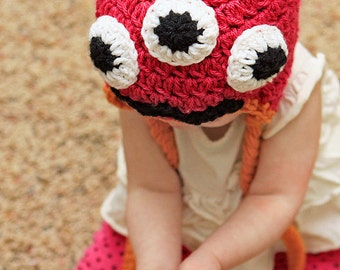 3 Eyed Martha & Marty Monster Hat Crochet Pattern, 5 sizs newborn to adult