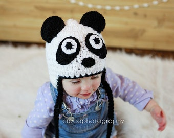 PDF Crochet Panda Bear Hat Pattern in 5 sizes