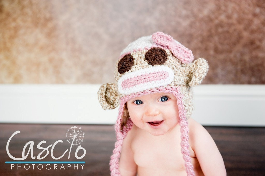 Items similar to Crochet pattern, Sock Monkey hat in Pink ...