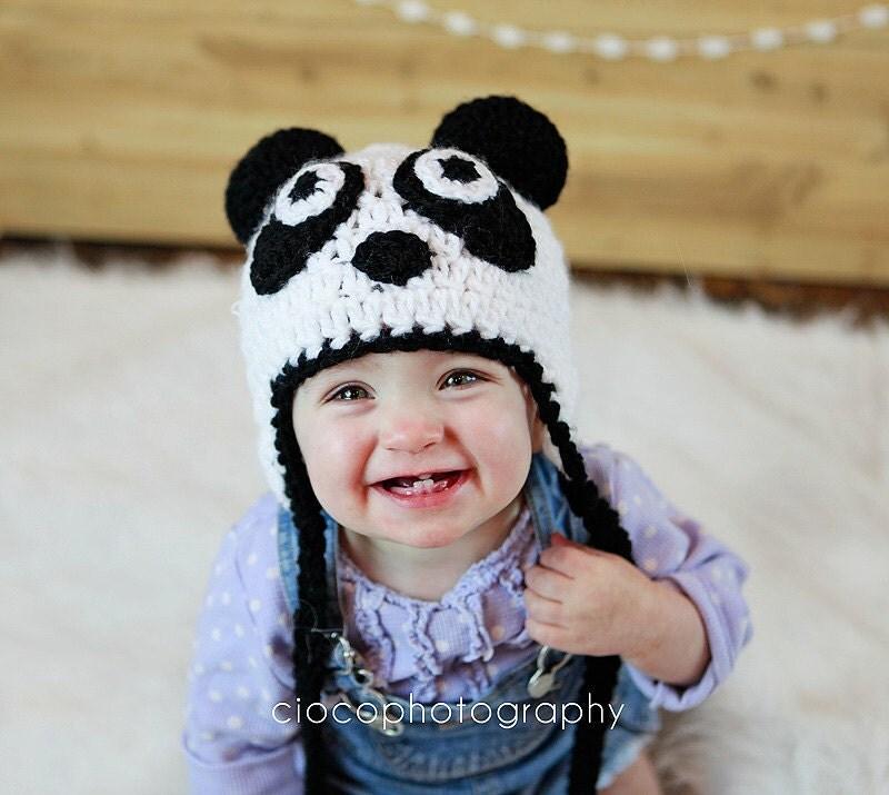Free Crochet Pattern Panda Bear Hat : Panda Bear Hat Instant Download Crochet Pattern