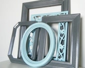 Seaside Dover Gray and Ocean Blue Wall Frame Collection