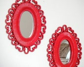 Bohemian Style Oval Vintage Mirrors Set. Cherry Red. Set of 3