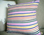 Summer Pillow, Tropical Decor, Striped Cushions