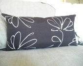 Long Bolster Pillow Chocolate Brown Decorative Pillows  Earth Tones Floral Flowers Cotton Canvas Abstract Dark Brown