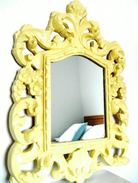 Vintage Home Decor Large Chunky Ornate Mirror in Butter Yellow Shabby Chic
