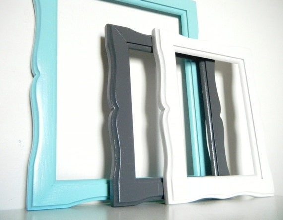 Holiday Sale 10% Off  - Beachy Chic Wall Frame Collection with GLASS in Aqua Blue, light gray, and antique white.