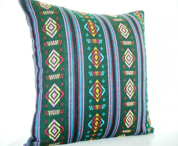 Holiday Sale 10% Off  - Mexican Pillow Geometric Pillow in Green, Mustard Yellow, Hot Pink, Turquoise Blue, and Apple Red