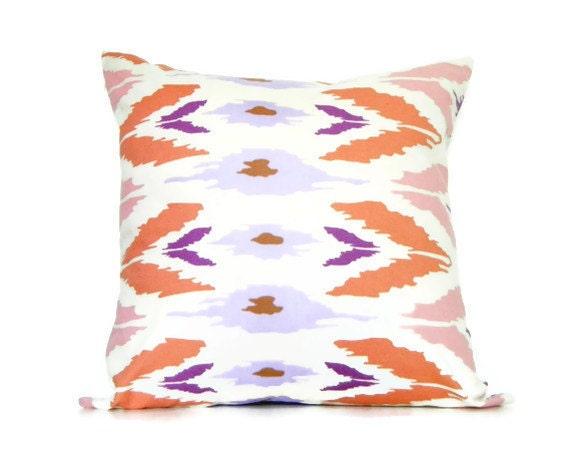 Bohemian Decorative Pillows Tribal Pillows Ikat Pillows  Purple, light purple, pink, Coral, and Cream Colors Living Room 16x16