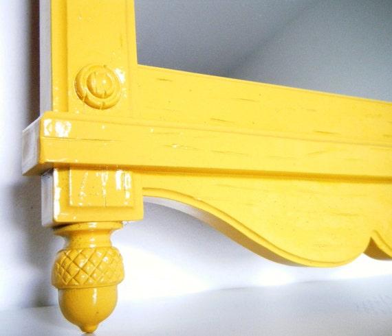 Vintage Mirror in Mustard Yellow. Painted Mirror. Yellow Mirror.