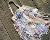 Pastel Rainbow Upcycled Purse Tote Bag in Blue Pink Lilac Gauze Lace