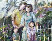 Family Garden Painting Original Impressionism 16 x 20 by Crystal Greer