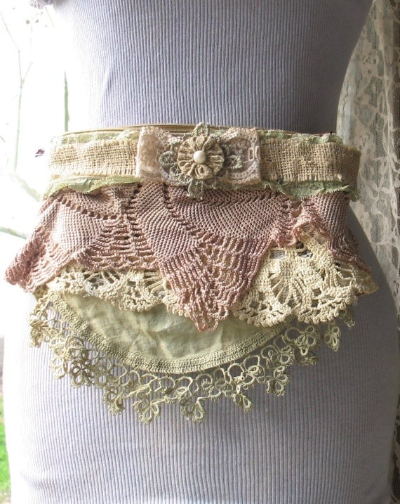 Fanny Pack  Hip Bag Apron Style with Blush and Green Lace Doilies and Pearls