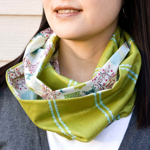 Olive Voile Infinity Cowl Scarf