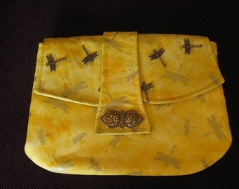 Yellow Cotton Clutch with Gold Dragonflies