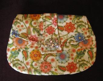 Flowered Cotton Clutch with Aurora Borealis Vintage Brooch