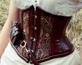 Steampunk utility corset , underbust bronze steampunk costume Neo-Victorian, coutil, steel-boning