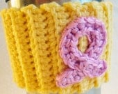 Breast Cancer Awareness Crochet Cozy in Yellow ~ Breast Cancer, Cancer Survivor, Cup Cozy, Eco Friendly, Gift for Her, Gift for Him