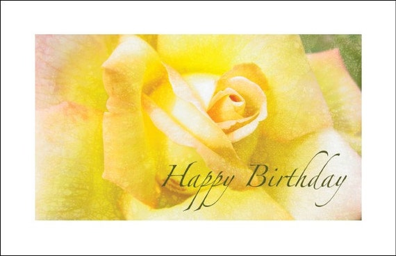 Items similar to Yellow Rose Happy Birthday Card on Etsy