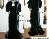 1930s Art Deco Style Des Inspired Custom Made Kimono sleeves Ballgown Event  Bridal Dress