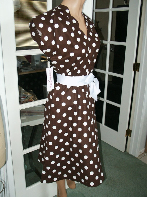 Brown/Wht 1940s style Custom made Solid or Print Scallop Sash Swing Dress S/M34 Custom size fabrics