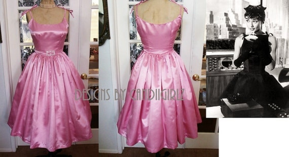 1950s Style Custom Audrey H Gathered Spaghetti Evening DRess Shantung XS sample sale
