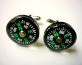 Compass cufflinks compass cuff links Emerald green mens Fashion Etsy jewelry