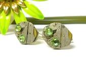 Steampunk Cufflinks cuff links with green Peridot Swarovski Crystals Menswear fashion mens cufflinks